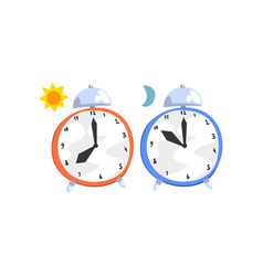 alarm clocks day and night concept vector image