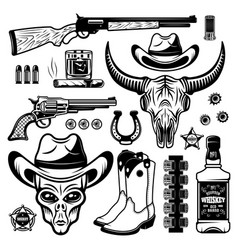 Alien cowboy and different western elements set vector