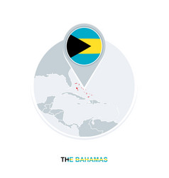 Bahamas map and flag map icon with vector