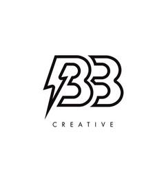 Bb letter logo design with lighting thunder bolt vector