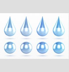 blue water drops and aqua spheres vector image