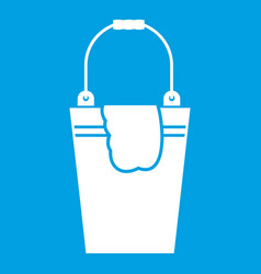 Bucket and rag icon white vector