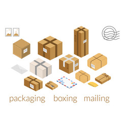 carton boxes set isometric box packing stages vector image