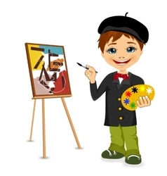 cartoon artist boy vector image