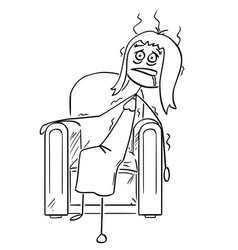 Cartoon of exhausted woman sitting collapsed in vector