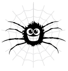 Cartoon spider on web vector