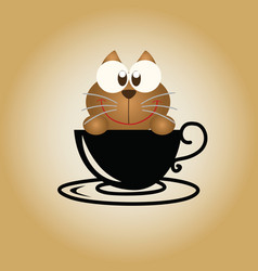 Cat logo coffee vector