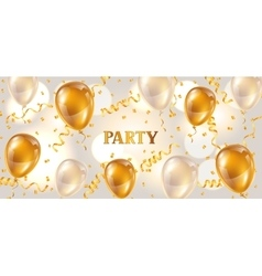 Celebration party banner with golden balloons vector