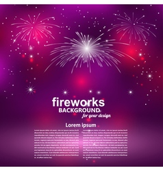 Celebratory fireworks on a purple background Card vector
