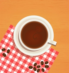 Coffee cup top view on wooden table background vector