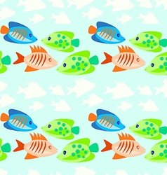 colored fish seamless pattern vector image