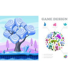 colorful game landscape composition vector image