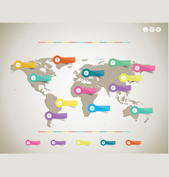 colorful globe map with color stickers vector image