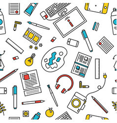 Creative stylized designers tools pattern vector