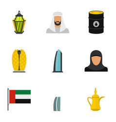 culture features of uae icons set flat style vector image