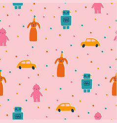 cute and funny retro toys seamless pattern vector image
