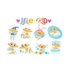 Cute baby boy set toddler happy cartoon infant vector