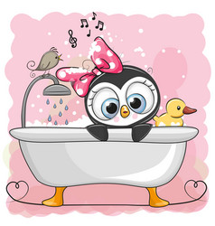 Cute cartoon penguin girl in the bathroom vector