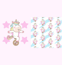 cute unicorn ride mono cycle with seamless vector image