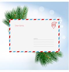 Dear santa christmas letter in envelope child vector