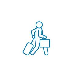Departure on a trip linear icon concept departure vector