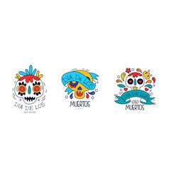 dia de los muertos logo templates set mexican day vector image