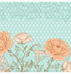 doodle rose background vector image