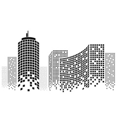 Dotted skyscrapers panorama vector
