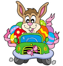 easter bunny driving car vector image