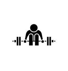 exercises with a barbell black icon sign vector image