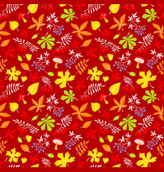 Fall season floral seamless pattern autumn vector