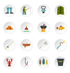fishing tools set flat icons vector image
