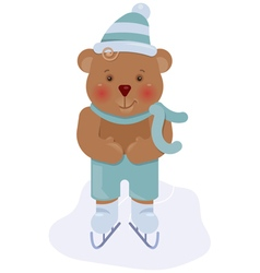 Funny bear cub skating vector