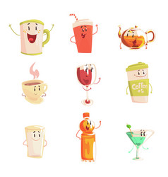 Funny cup bottle glass with drinks standing and vector