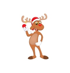 funny happy cartoon Christmas Reindeer vector image