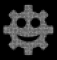 gear smile smiley halftone icon vector image