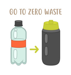 go to zero waste - plastic bottle vs reusable vector image