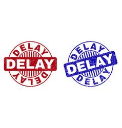 Grunge delay textured round stamp seals vector