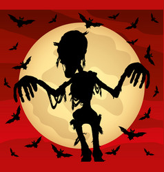 halloween with a zombie vector image