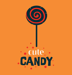 halloween with cute lollipop and lettering vector image