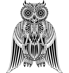 Hand-drawn owl with abstract pattern vector