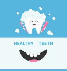 healthy tooth holding paste and brush bubbles vector image