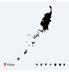 High detailed map of Palau with navigation pins vector image