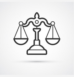 justice scales flat line trendy icon eps10 vector image