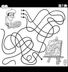 line maze with cartoon painter and his painting vector image