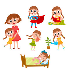 Little girl daily routine set vector