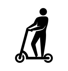 man silhouette on electric scooter icon kick vector image
