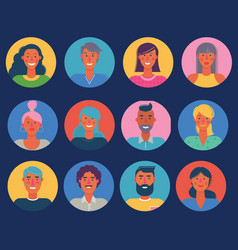 material cartoon avatars trendy characters vector image