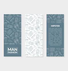 men fashion hipster banner templates set vector image