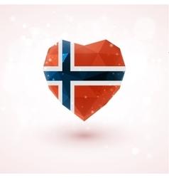 Norwegian flag in shape diamond glass heart vector